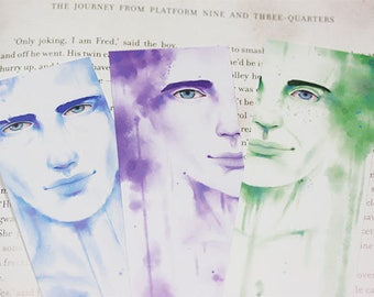 Three Male Water Paint Bookmarks
