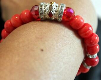 Beautiful red beaded shamballa handmade bracelet with tassels; red & silver, casual wear, party wear