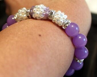 Beautiful Purple jade & Pearl-beaded shamballa bracelet; beadweaving, handmade, elegant, casual wear, party-wear