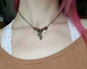 Wooden Brass Charm Necklace