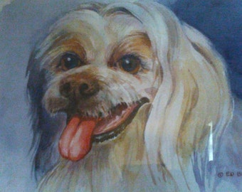 Beautiful watercolor dog portrait