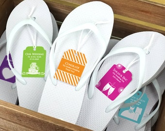 Wedding Flip Flops With Personalized Tag White