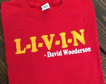 Free Shipping!! L-I-V-I-N -David Wooderson T-Shirt / Dazed and Confused Shirts / Funny Tees / Hipster Shirts / Wooderson T-Shirts