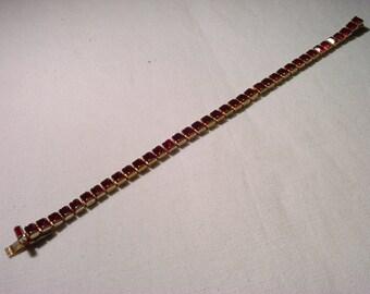 "Vintage Ruby Red Rhinestone Tennis Bracelet Goldtone 7 1/4"" x 1/4"""