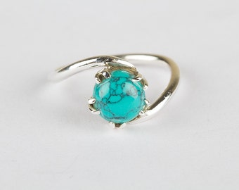 Handmade 925 Sterling Silver Turquoise Ring,  Silver Turquoise Ring, Birthstone Ring, Healing Ring
