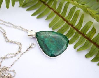 Chrysocolla Pendant/ Necklace, Natural Stone Pendant, Green Gemstone Necklace, Elegant,  Silver Chrysocolla Necklace, Large Chrysocolla,Boho