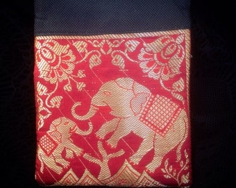 Small red brocade elephant purse