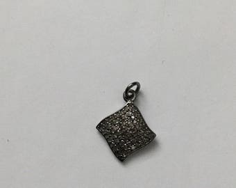 Pave diamond sterling silver charm