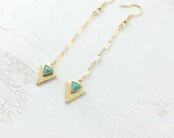 Turquoise arrow earrings | Boho Gypsy earrings | Gold | Triangle triangle. Nomad jewelry | Gemstone Stud Earrings