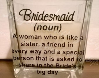personalised bridesmaid candle