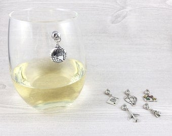6 Around the World Wine Glass Charms for Travelers, Travel Magnetic Wine Charms, Gifts for Travelers, Stemless Wine Glass, Gifts for Her