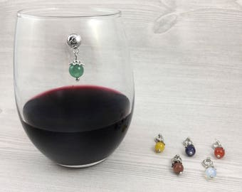 6 Colorful Wine Charms, Magnetic Wine Glass Charms, Wine Accessories, Wine Lovers Gift, Stemless Wine Charms, Gift for Her, Bead Charms