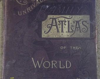 Antique/Primitive, Cram's Unrivaled Family Atlas of the World 1889