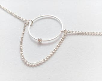 Minimal Silver Hoop Chain Necklace / 35 /