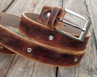 Men's leather belt, Jeans leather belt, Brown distressed leather belt, Cow belt, Men distressed jeans belt, Rustic leather belt