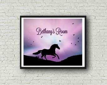 Custom Wall Art, Printable, Girl's Room. Nursery Artwork, Customized with Name Horse Lover Purple Universe