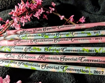 Special convention set of 75 paper wrapped pencils- specify country JW Regional convention special convention gifts