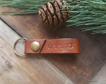 Personalized Leather Keyring, Leather Keyholder,Handmade Leather Keychain,