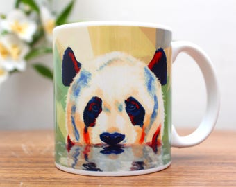 Panda Coffee Mug - ceramic mug, panda cup, animal mugs, panda illustration, animal lover gift, cute animal mug, funny mug, animal decor
