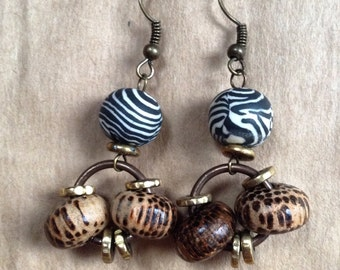 Zebra Polymer Clay & Coco Wood Beaded Earrings With Vintaj Brass Jumprings And Gold Discs