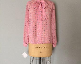 SALE...vintage bow neck top | multicokored dot print blouse