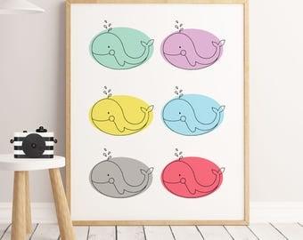 Kids wall art Rainbow whales
