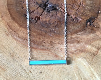 Horizontal Turquoise Bar Pendant; Sterling Silver necklace, gift for her, bridesmaid gift, layering necklace, semiprecious