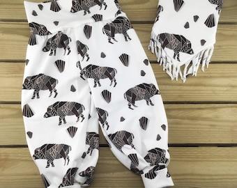 9-12 months, organic cotton baggy trousers and fringed bandana bib set, UK