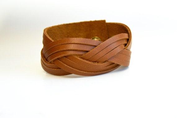 Wide Braided Leather Cuff:  Genuine Leather Warm Cognac Brown Magic Braided Leather Bracelet