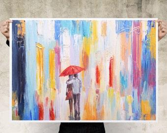 Watercolour Walking In The Rain Art Print Poster