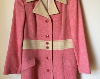 Rare 50's Pink Herringbone Coat