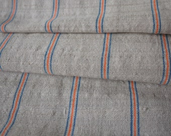 Natural striped recycled hemp/cotton (4.8m) - Vintage handwoven hemp cotton mix traditional striped pattern - recycled fabric from old skirt
