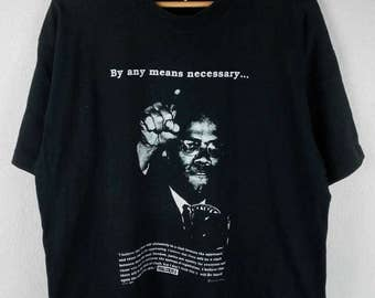 RARE!!! Vintage Malcom X Big Logo SpellOut Crew Neck Black Colour T-Shirts XL Size