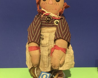 Vintage Collectable Folk Art Rag Doll in the Raggedy Ann Style