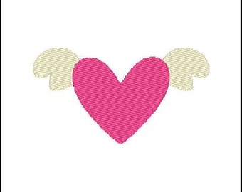 Fill Embroidery Design, Heart Wings, Pattern, File, Digital, Download, Machine