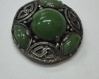 Vintage Green Stone Celtic Brooch Silver Tone