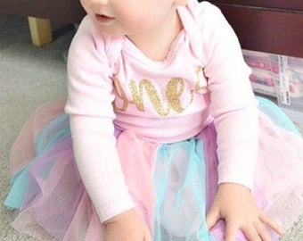 One year old girl birthday outfit - Baby girl one year outfit - First birthday outfit girl - Pink and gold first birthday outfit