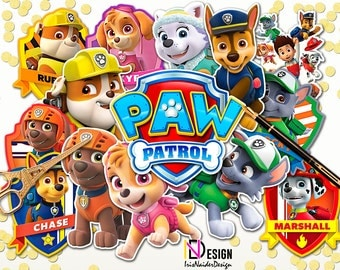 16 Paw Patrol Centerpieces, Paw Patrol Table Centerpiece, Paw Patrol Party Printable, Paw Patrol Instant Download, Paw Patrol characters