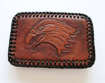 Genuine Leather Handcrafted Wildlife Eagle Belt Buckle