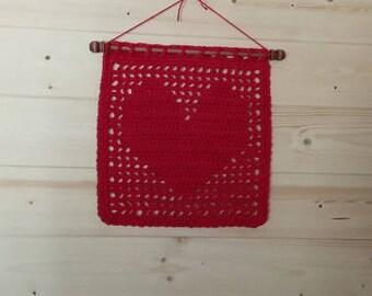 Filet Crochet Heart Wall Art