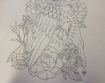 Owl tattoo design with a human heart