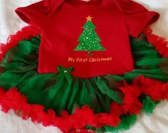 FREE SHIPPING !!!  0-3mo First Christmas Baby Dress , Matching Headband, Baby Christmas Dress, Baby Christmas Gift, Baby Photo Outfit