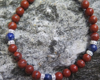 Red Jasper Bracelet with 6 mm and 925 Silver combined with Lapislazuli 6 mm
