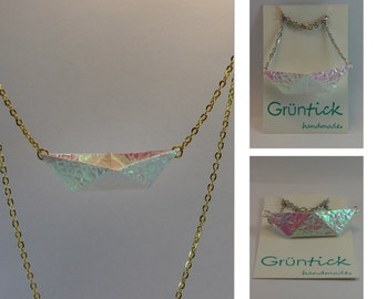 AHOY! Boat of paper chain iridescent, self folded from real paper, reinforced, mother of Pearl look
