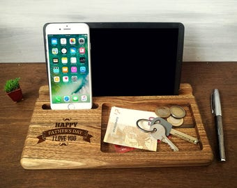 Fathers Day Gifts, Personalized Men Gifts, Christmas Gift for Dad, Wooden Phone Stand, iPhone iPad Docking Stating, Wood Charging Station