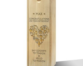 Personalised Congrats On Your Retirement Wooden Wine Box