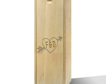 Personalised Cupid Heart Wooden Wine Box