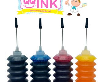 Premium Edible Ink Refill Kit for Canon Printer - 1 oz Bottles (BK / C / Y / M) by QQink