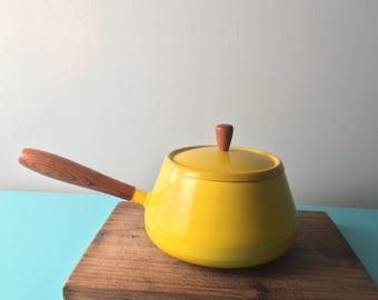 Yellow Enamel fondue pot mid century modern