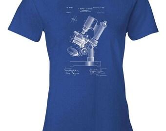 Bausch & Koehler Microscope Patent Art Womens T-Shirt, Microscope Shirt, Biologist Gift, Science Gift, Scientist Gift, Teacher Gift